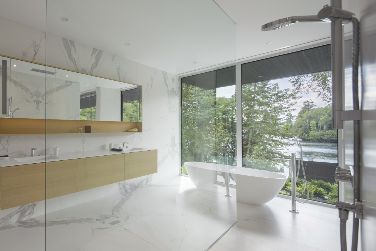 Full-height glazing allow views to be enjoyed from architecture, home, house, interior design, real estate, window, gray, white