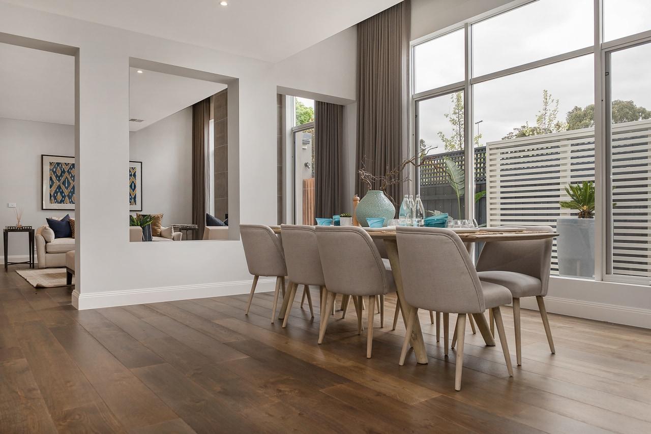 Live on, play on, work on  French chair, dining room, floor, flooring, furniture, hardwood, interior design, laminate flooring, living room, real estate, table, wood, wood flooring, gray
