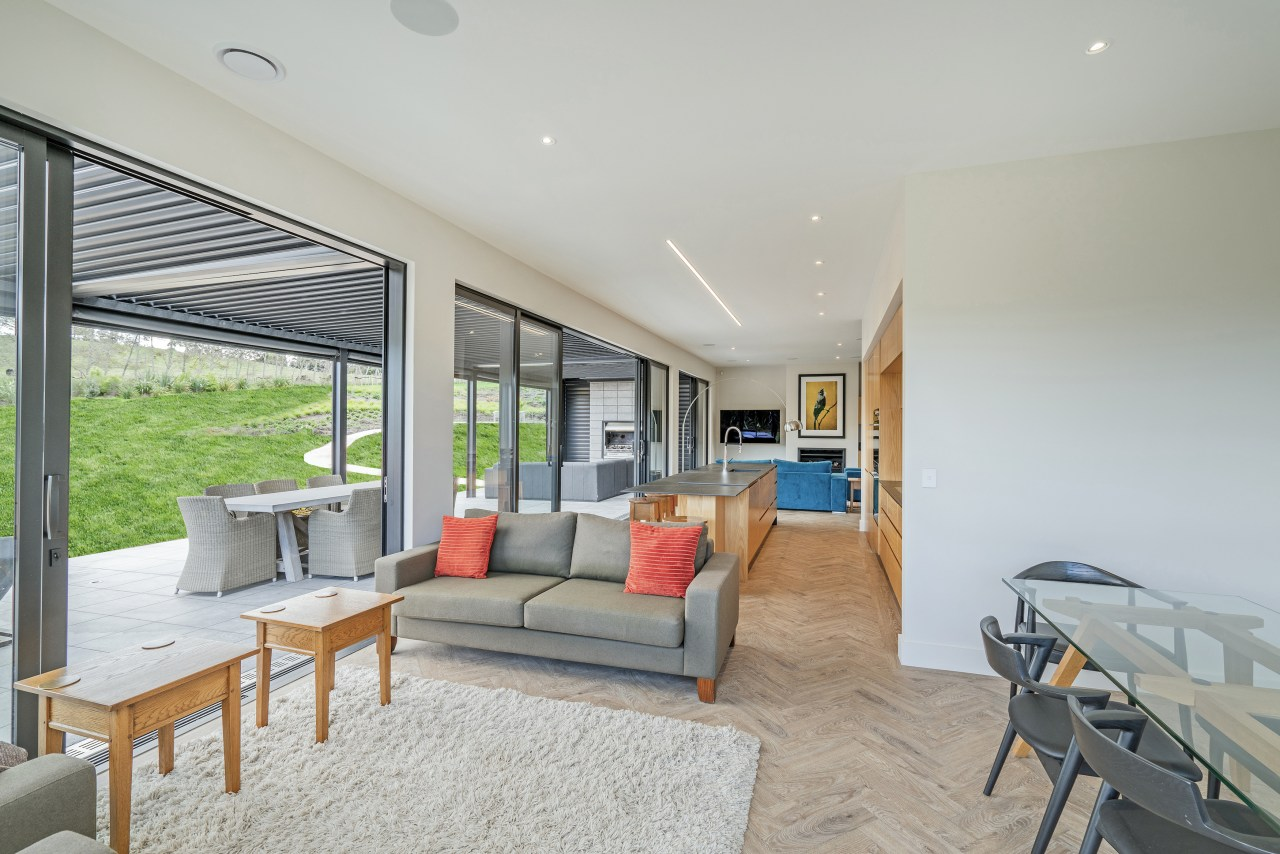 The home opens up to views and a