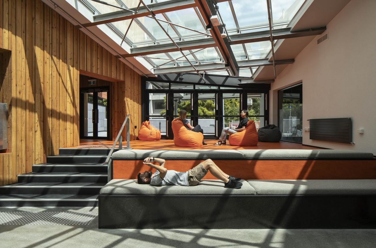 Winner – University of Canterbury – Rehua by architecture, building, ceiling, daylighting, furniture, house, interior design, leisure, loft, room, sitting, vacation, brown, gray, black