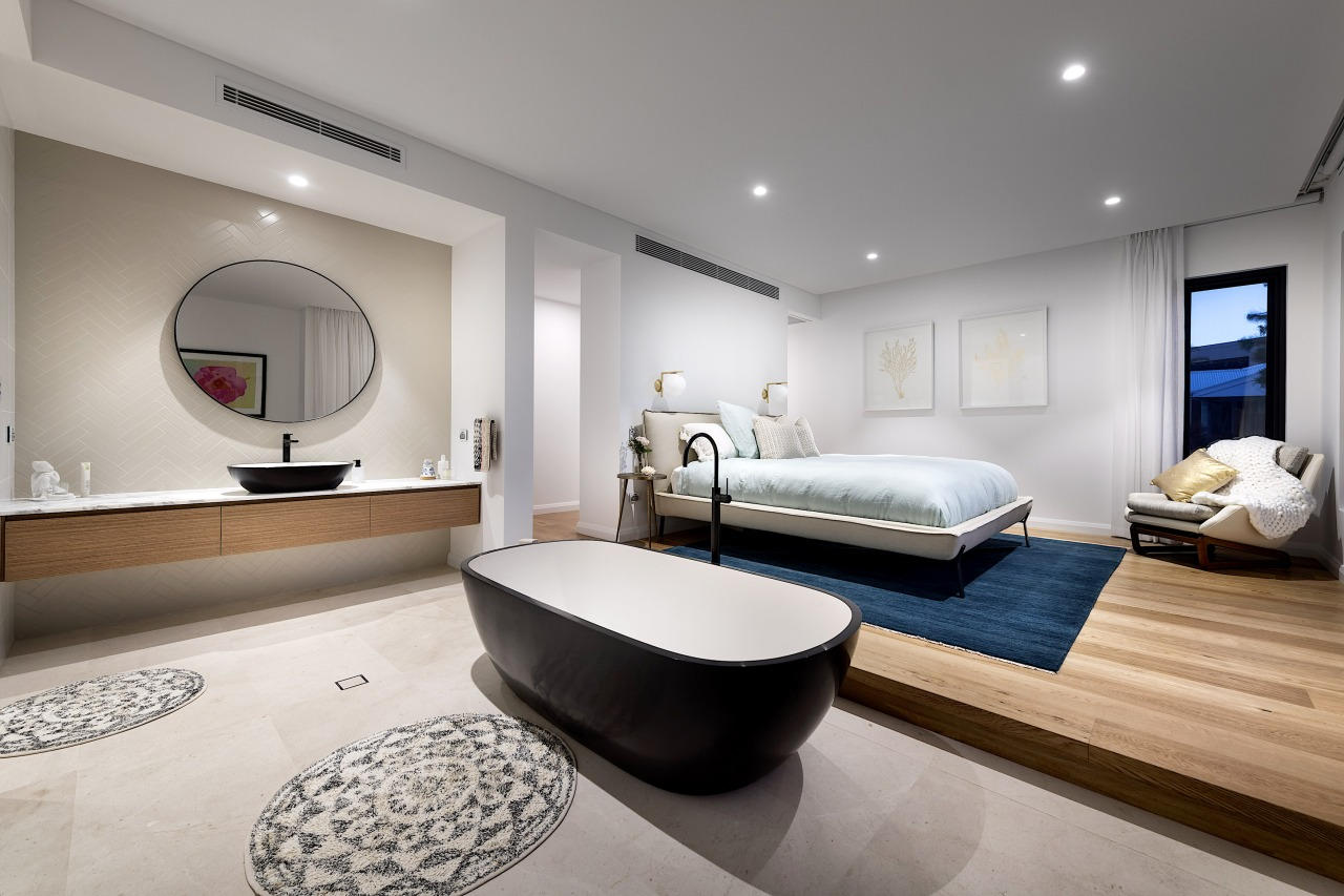This guest bedroom is designed to have a