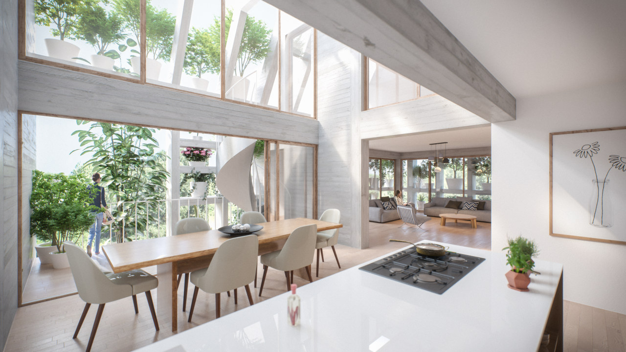 Green Villa interiors are spacious and light-filled. apartment, architecture, building, ceiling, design, dining room, estate, floor, furniture, home, house, interior design, living room, property, real estate, room, table, window, gray, white