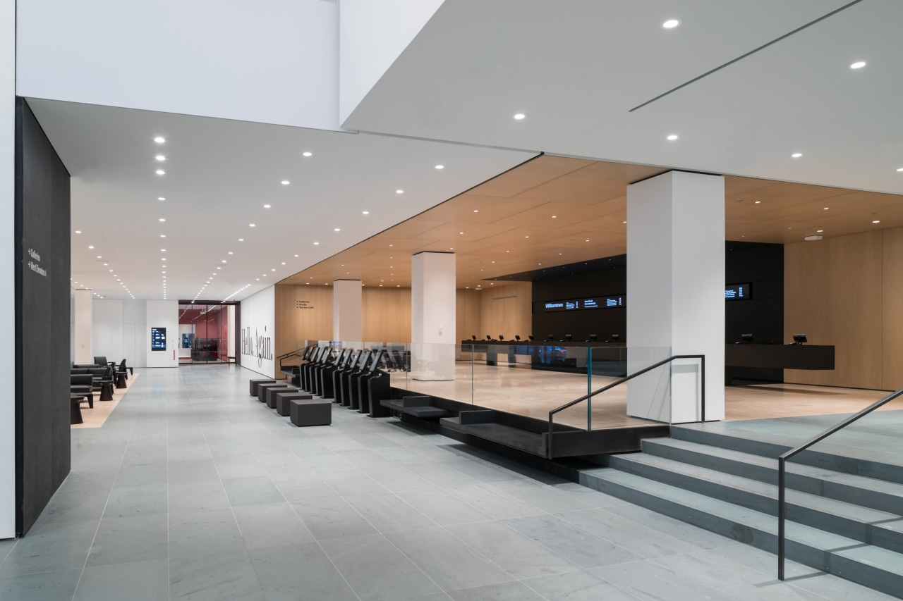 Interior view of The Museum of Modern Art architecture, building, ceiling, design, floor, flooring, glass, hall, interior design, lobby, property, real estate, room, gray