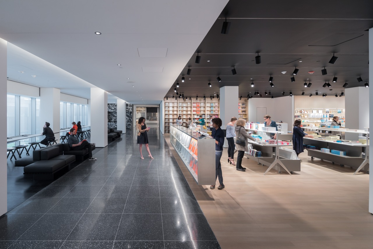 The second floor of MoMA's expansion includes a architecture, building, ceiling, design, floor, flooring, interior design, lobby, room, tourist attraction, gray, black