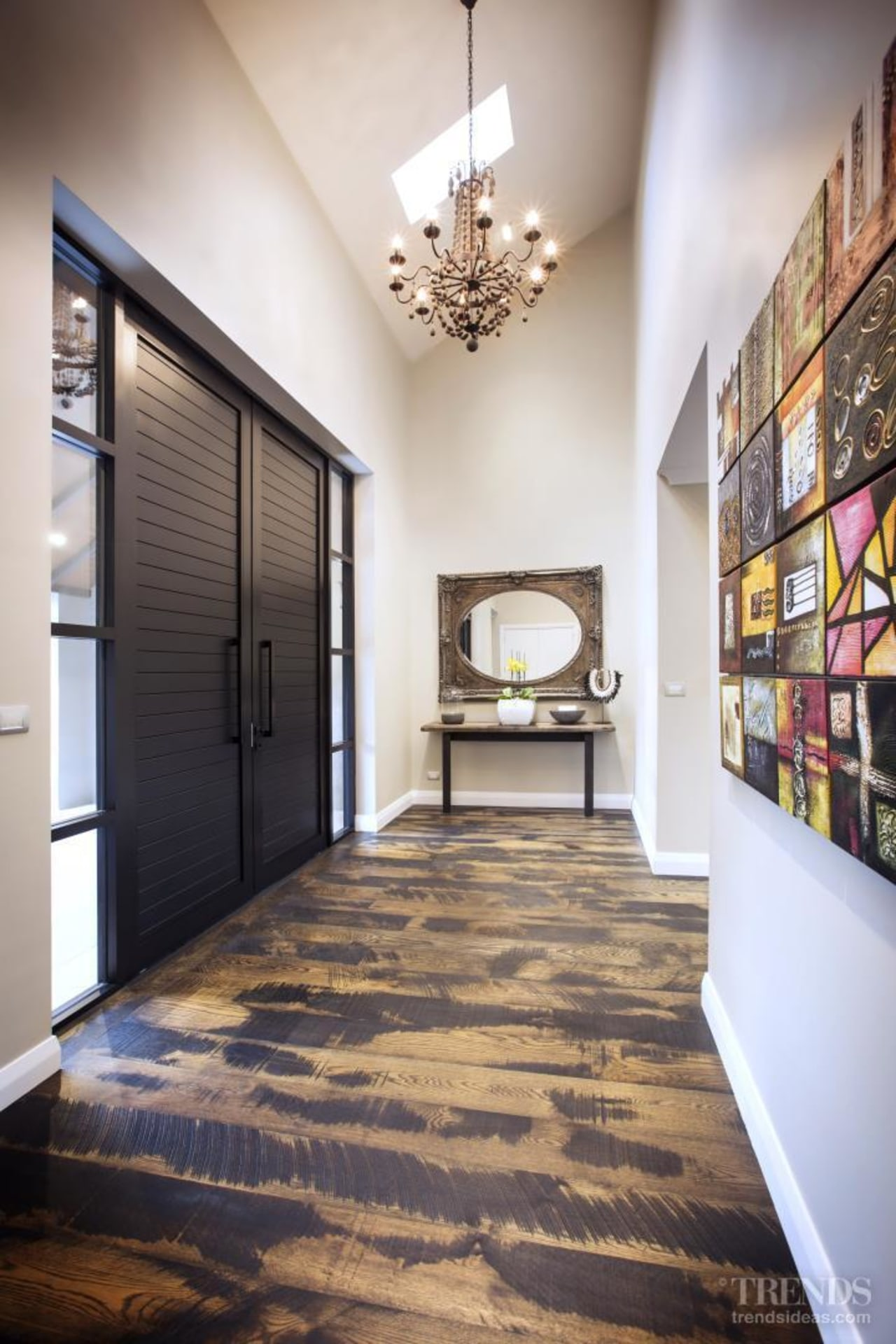 Windowmakers, with the owners and builder of this ceiling, floor, flooring, hardwood, home, interior design, laminate flooring, lobby, real estate, wood flooring, gray