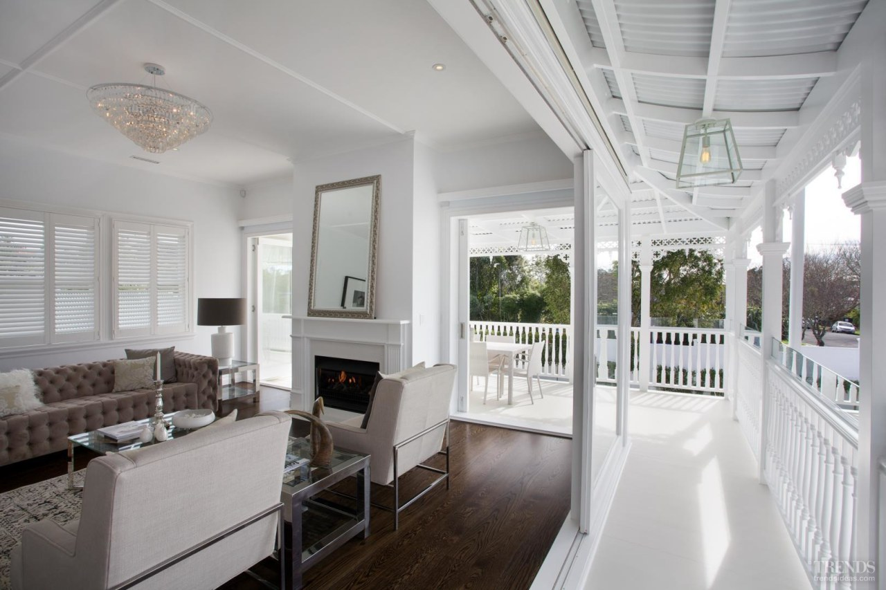 Grand affair – classic weatherboards, filigree detailing and ceiling, daylighting, estate, floor, home, house, interior design, living room, property, real estate, room, window, gray