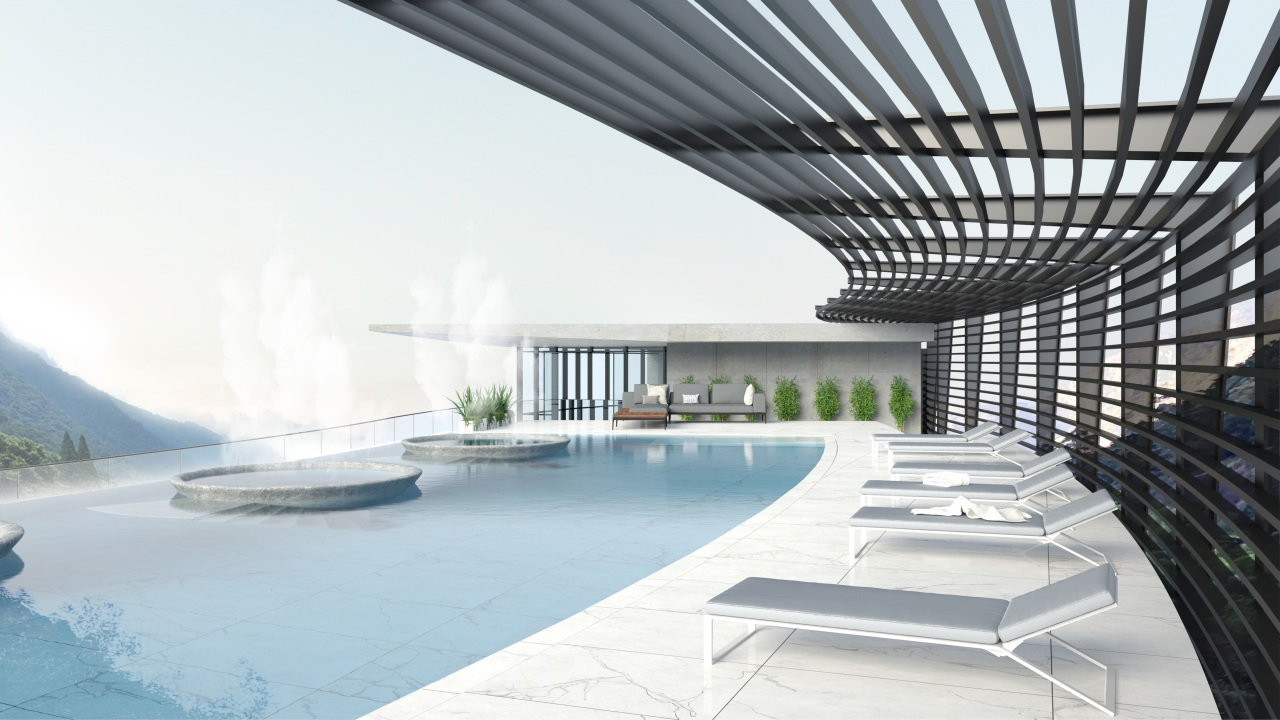 The rooftop pool provides a scenic spot for architecture, hotel, China, building, daylighting, design, floor, headquarters, home, house, interior design, lobby, property, real estate, room, urban design, white