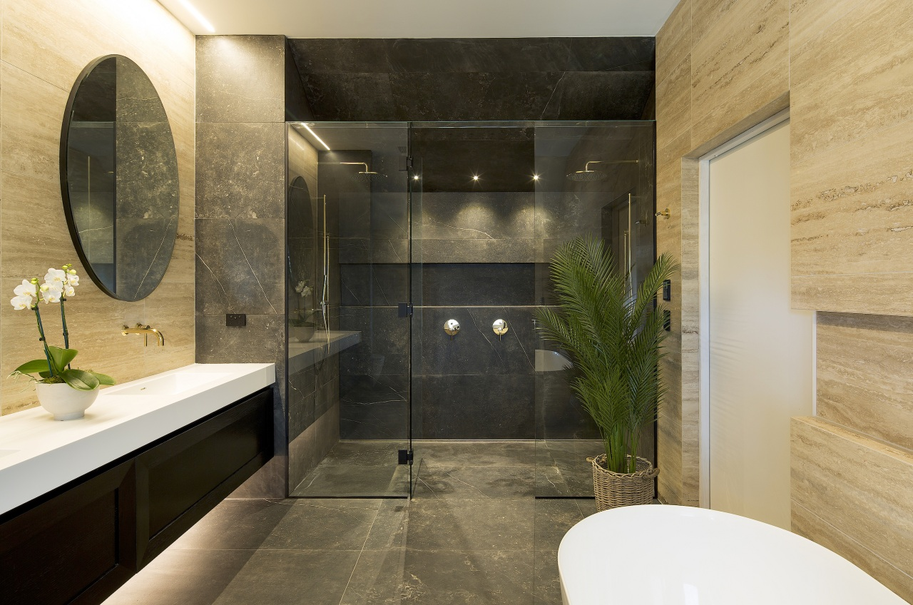 Entering this dynamic bathroom, it is softened it
