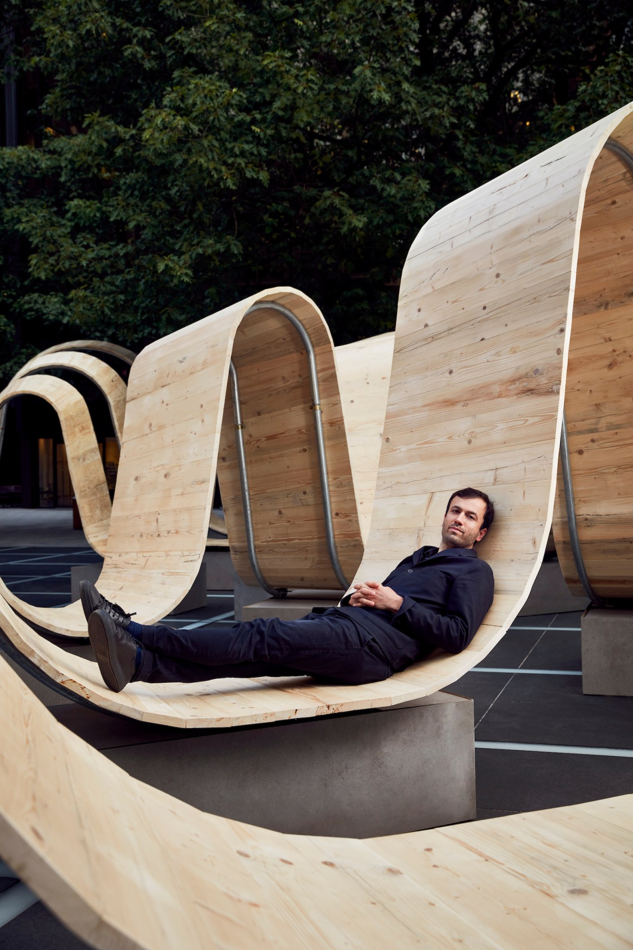 Designer Paul Cocksedge picks his own spot to architecture, furniture, leisure, sitting, tree, wood, black, gray