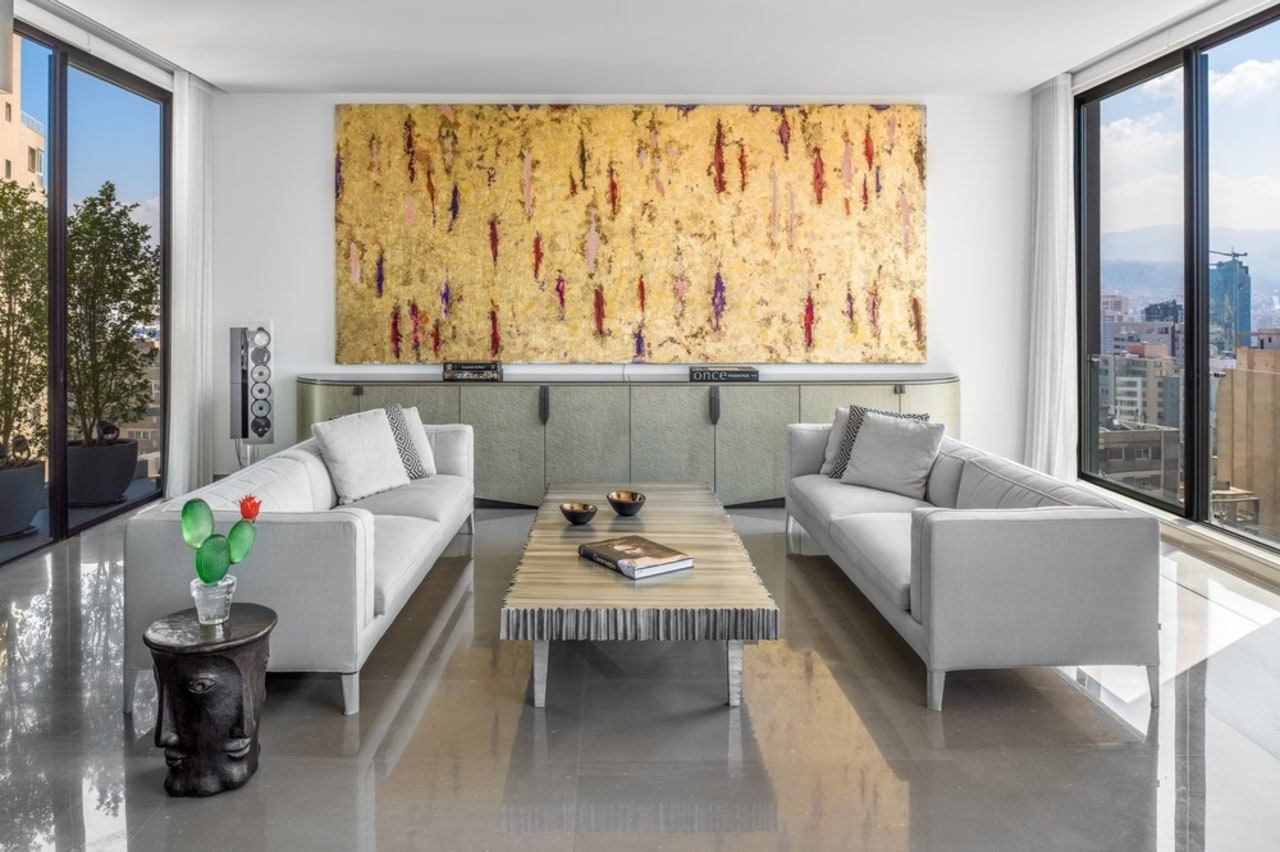 ​​​​​​​- Painting: 600 x 300cm by Venezuelan artist apartment, architecture, building, ceiling, coffee table, design, floor, flooring, furniture, home, house, interior design, living room, loft, property, real estate, room, suite, table, wall, gray, white