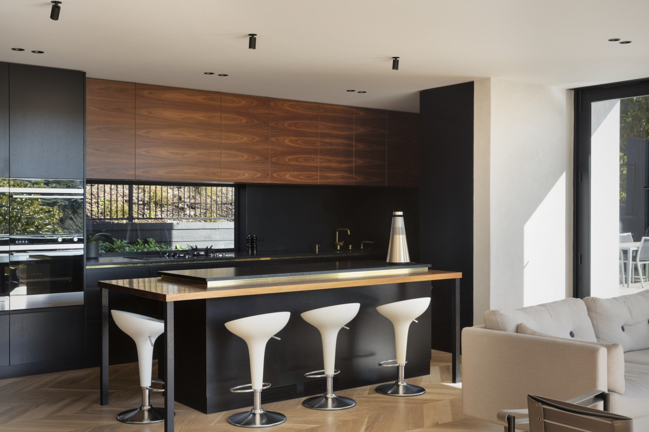 1970's home becomes a modern entertainer's dream - architecture, bar stool, building, cabinetry, ceiling, countertop, design, dining room, floor, flooring, furniture, glass, hardwood, home, house, interior design, kitchen, laminate flooring, living room, loft, property, real estate, room, stool, table, tile, wall, wood, wood flooring, gray, black