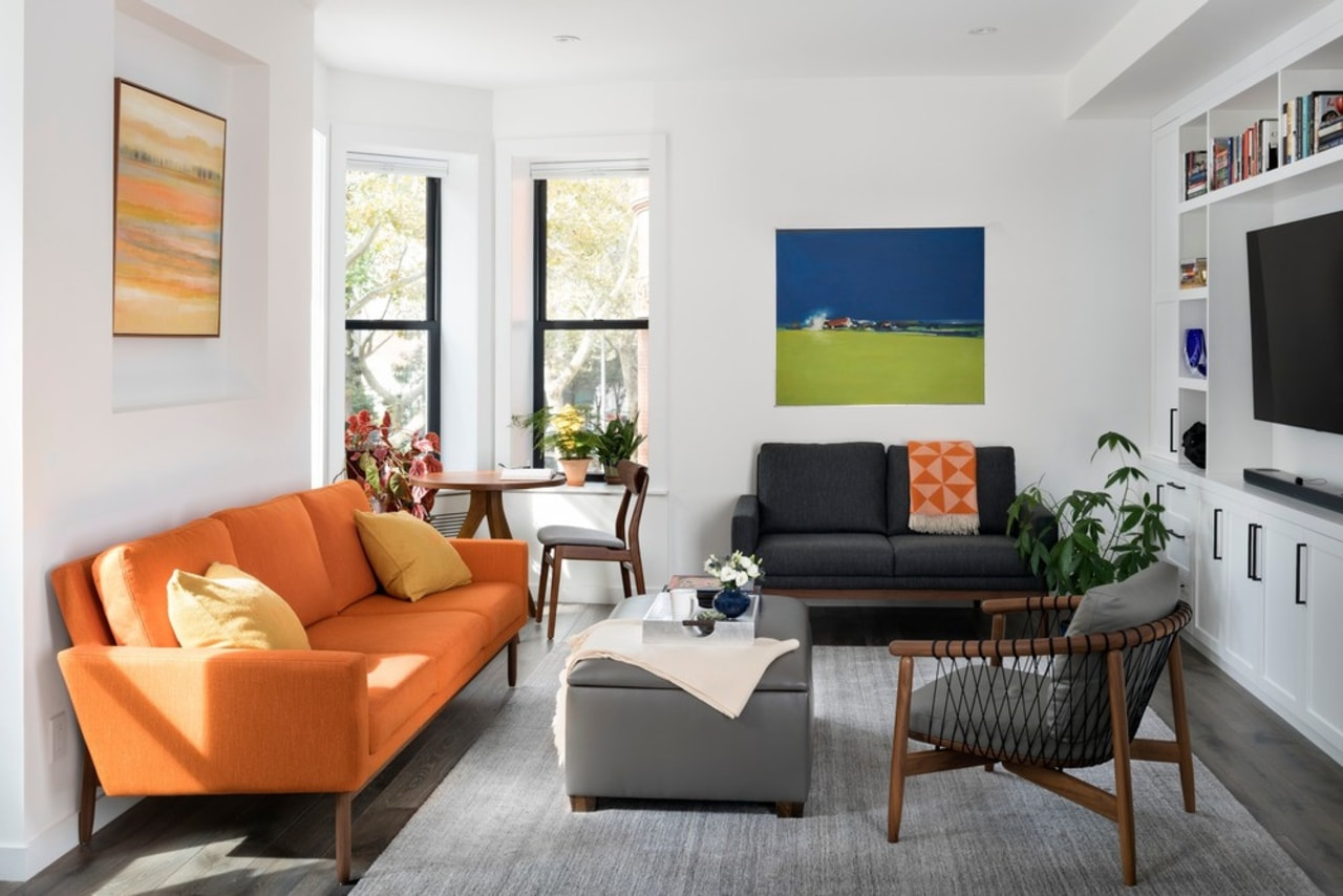 Living room with furniture from room and board apartment, architecture, building, ceiling, coffee table, couch, floor, furniture, home, house, interior design, living room, orange, property, real estate, room, suite, table, yellow, white