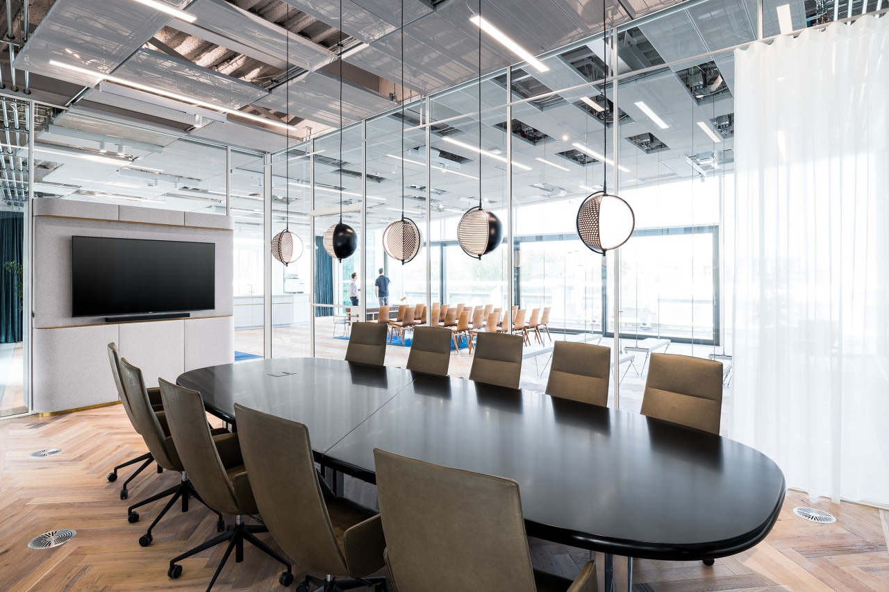 Large mid-century boardroom table, designed by Osvaldo Borsani, architecture, building, ceiling, chair, conference hall, design, floor, flooring, furniture, headquarters, interior design, light fixture, lighting, loft, office, office chair, room, table, white