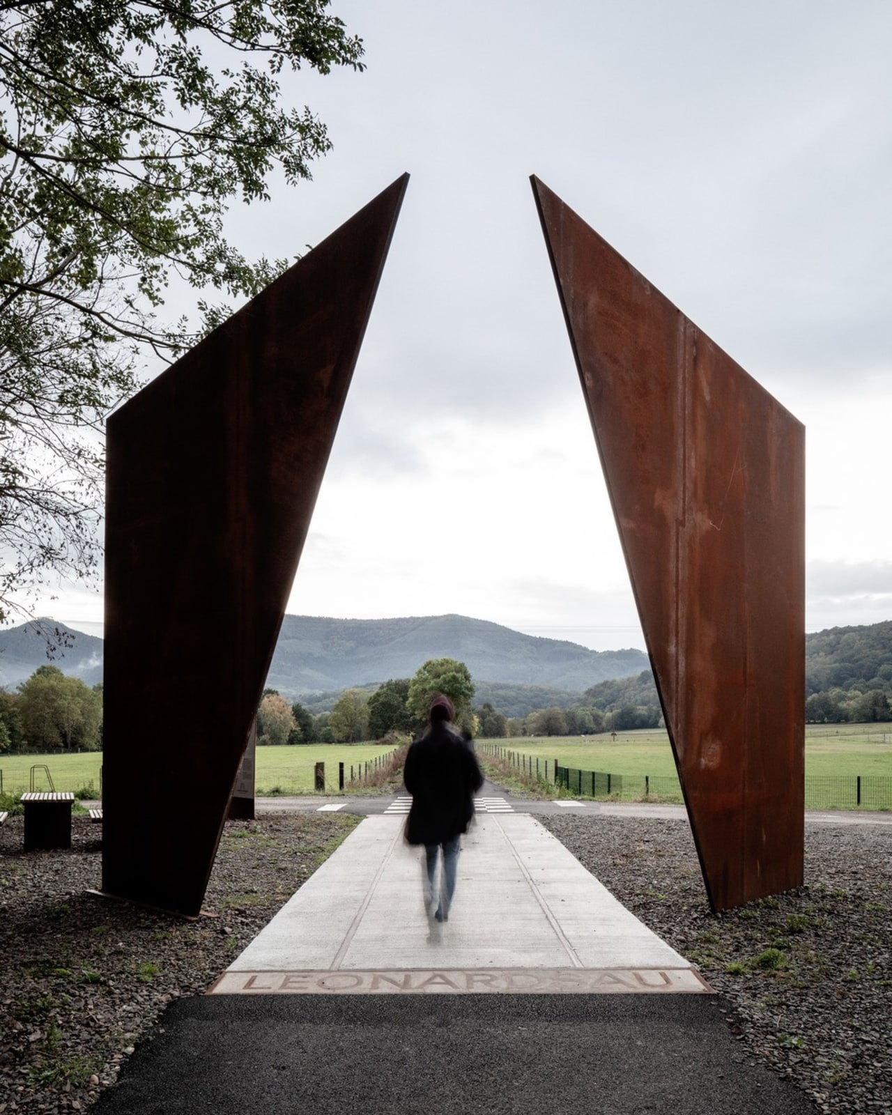 Corten steel 'gates' signal the end of a white, black