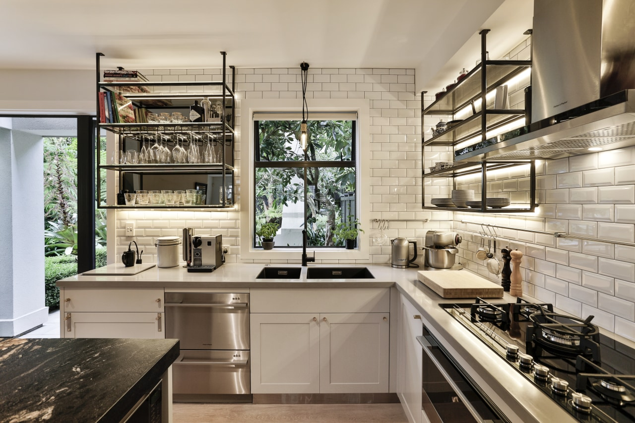 A beverage-making area away from the main work countertop, cuisine classique, interior design, kitchen, gray