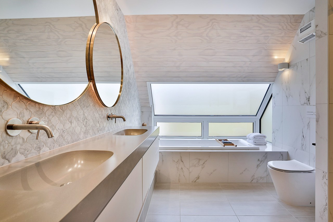 Let there be light – light-toned marble tilework, architecture, bathroom, bathroom sink, bathtub, building, ceiling, floor, flooring, furniture, house, interior design, marble, material property, plumbing fixture, property, room, sink, tap, tile, gray