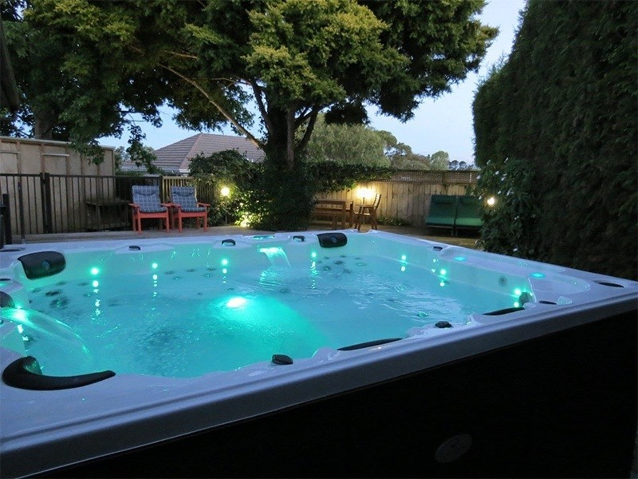 See more from Alpine Spas leisure, lighting, property, swimming pool, water, black