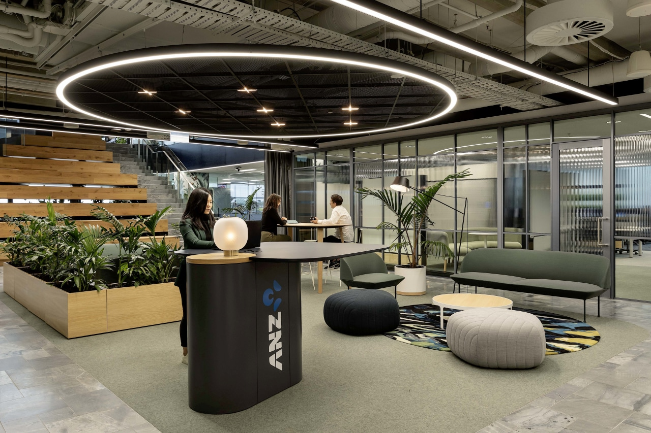 This view of ANZ's welcome, work and wait gray, black
