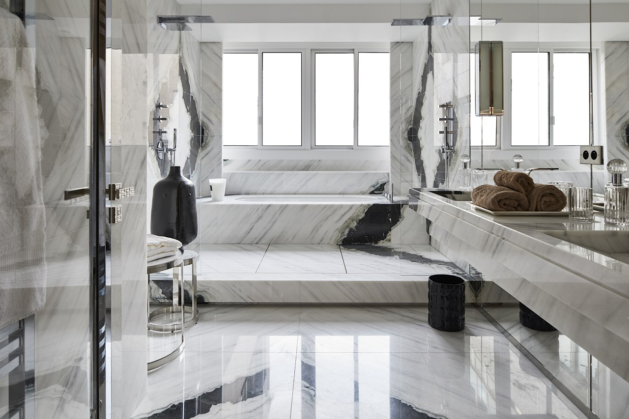 """An exquisite balance between the white marble and gray, white"