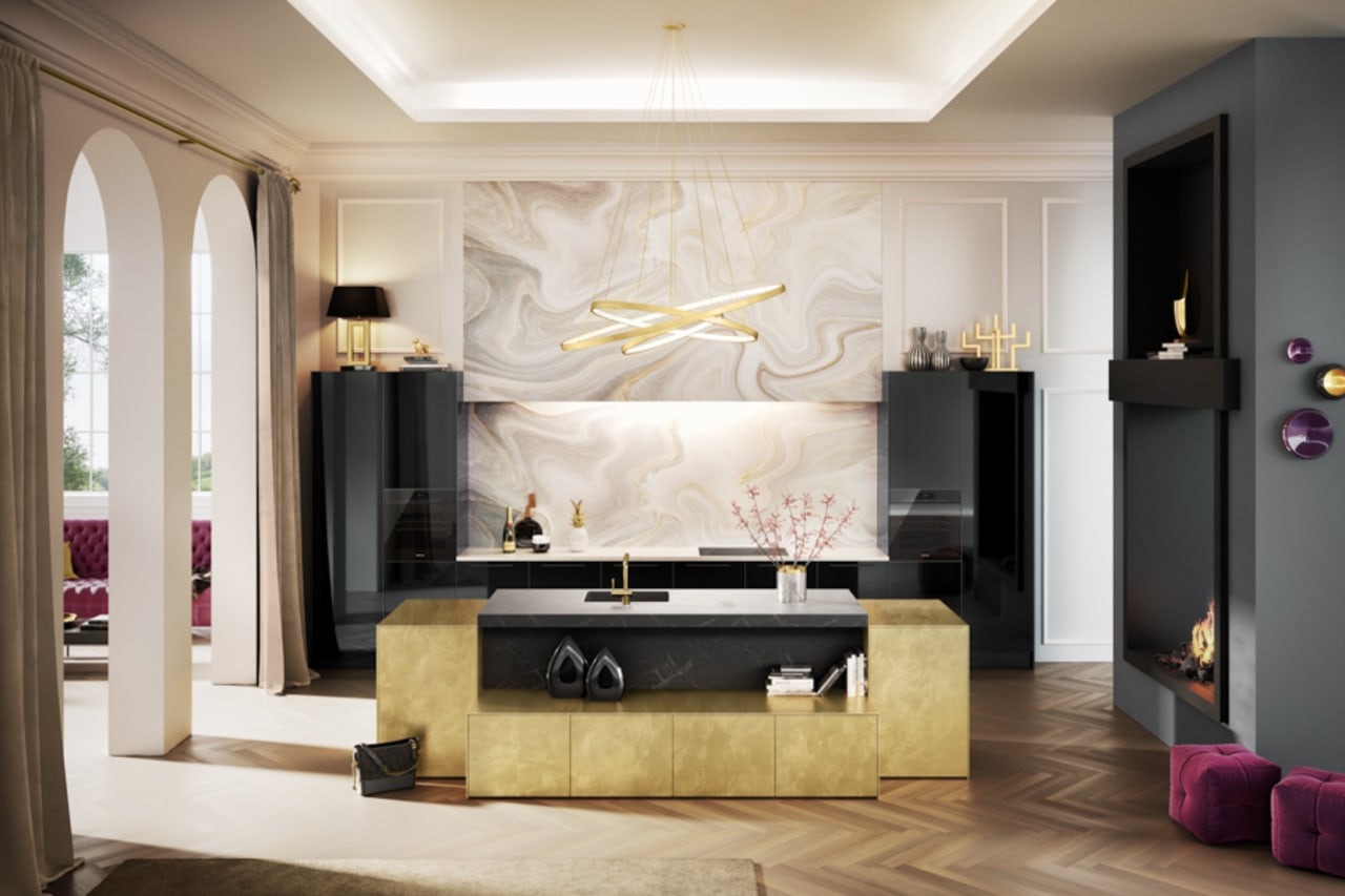 Wish your kitchen could look like this one ceiling, furniture, interior design, living room, room, table, wall, white