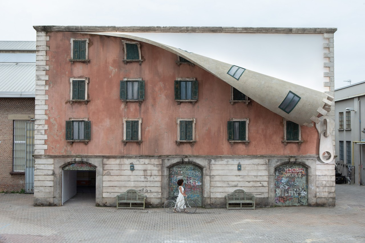 Alex Chinneck – A spoonful of sunrise architecture, building, facade, house, neighbourhood, property, real estate, gray, white