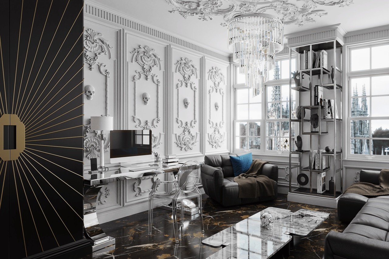 A home office inspired by Alexander McQueen fashion