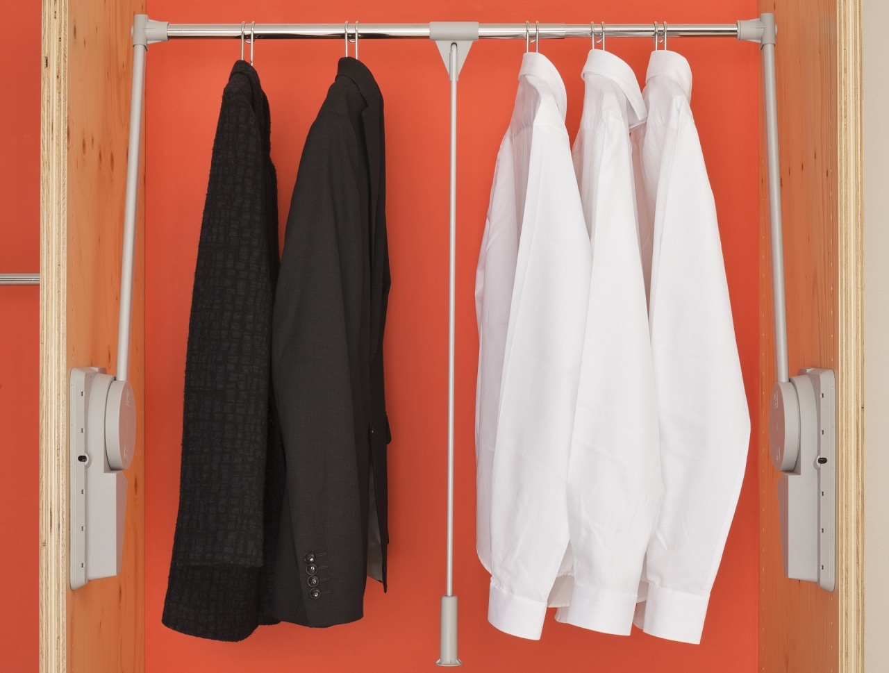 Use Ambos lifts in the upper parts of closet, clothes hanger, outerwear, room, red, white