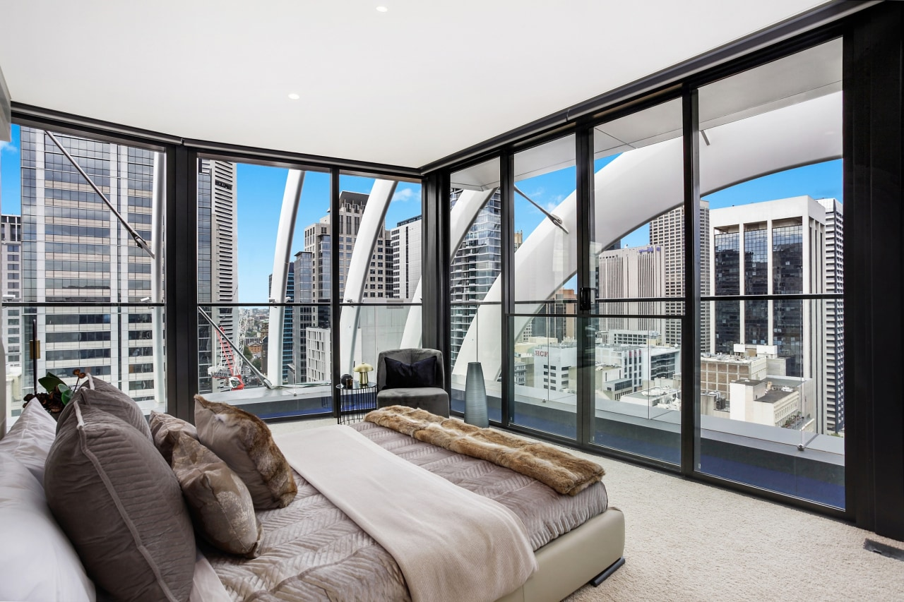 The level 28 penthouse takes in stunning views apartment, architecture, bed, bed frame, bedroom, building, ceiling, condominium, design, door, furniture, home, house, interior design, living room, penthouse apartment, property, real estate, room, suite, window, white, gray