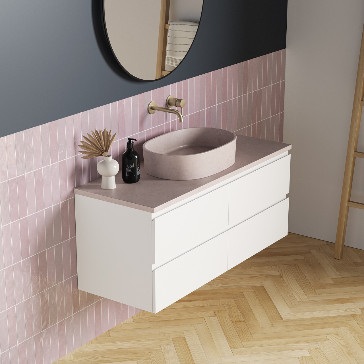 The BARE bathroom furniture pieces have strong, designer