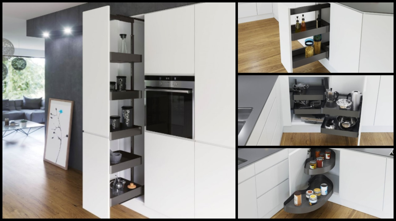 You can use pull-out pantry systems to furniture, interior design, kitchen, product, white