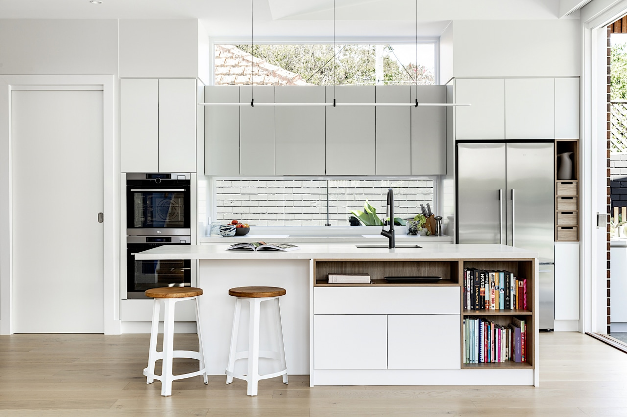 Clerestory windows help to flood the kitchen with