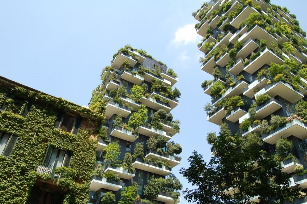 Bosco Verticale in Milan, Italy has been an brown, teal