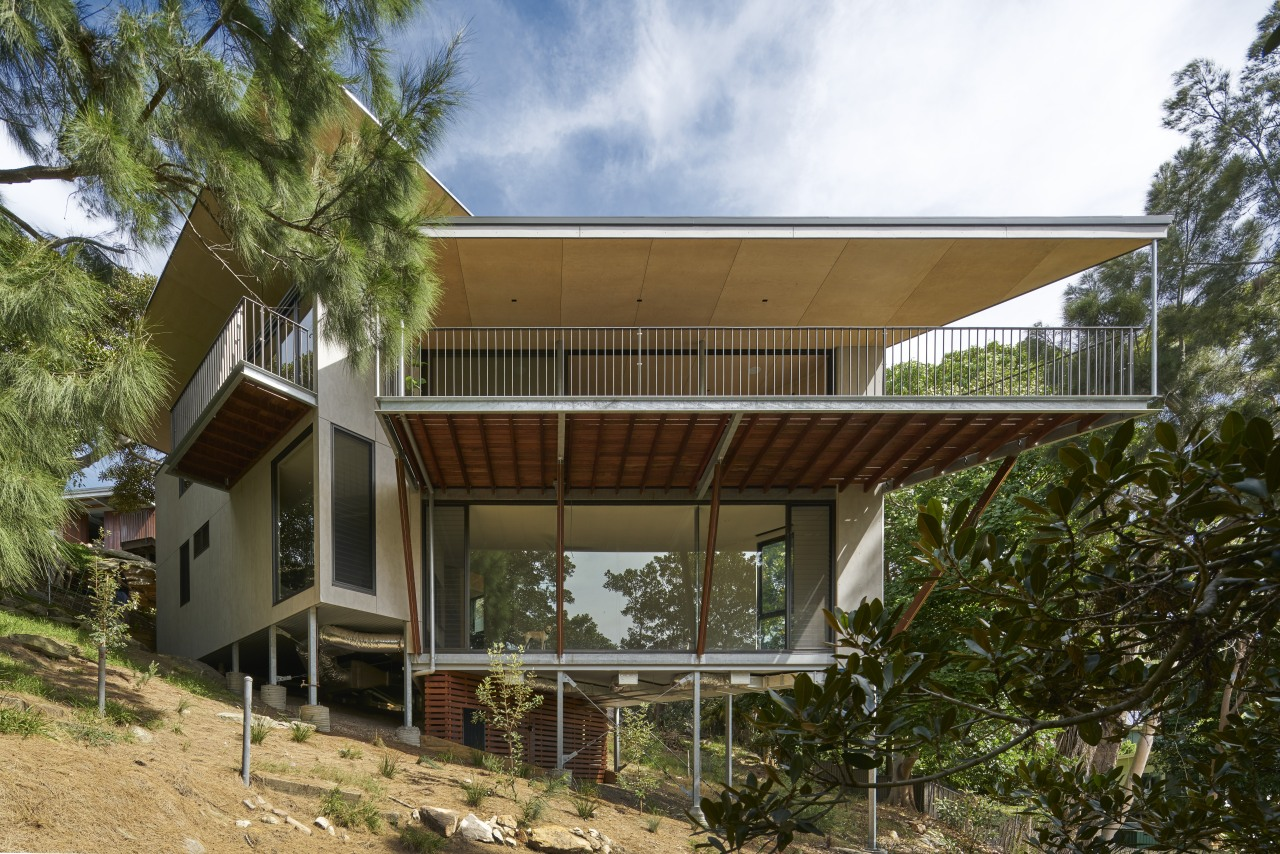 Conceived as a treehouse with platforms taking shelter