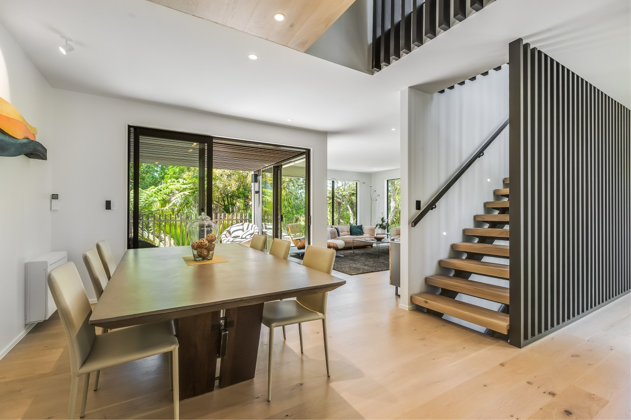 The home's use of vertical timber screening is