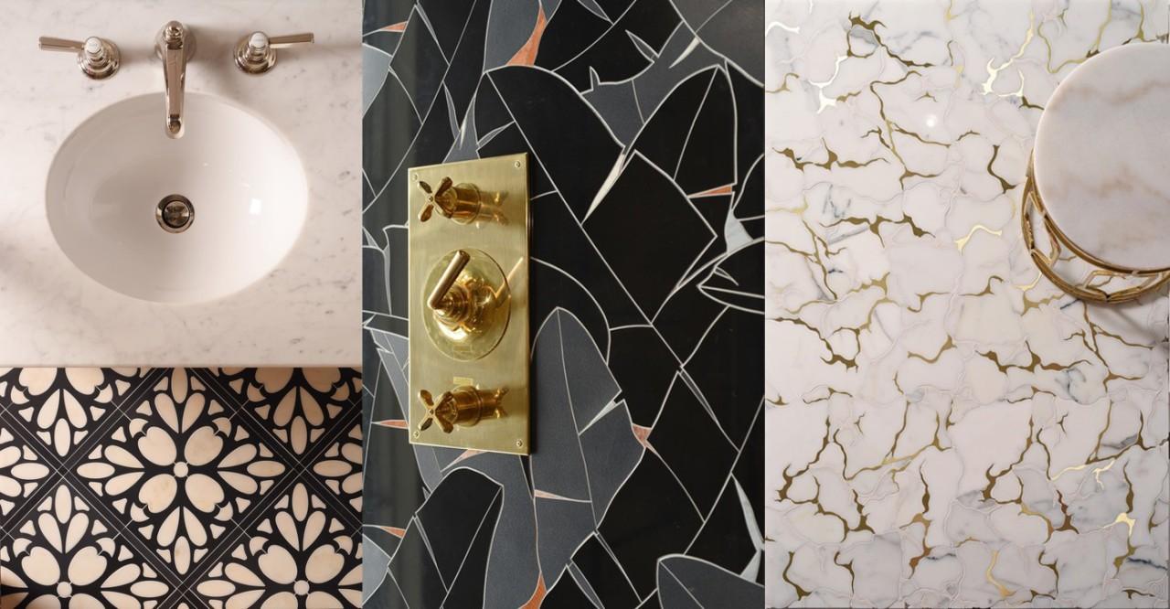 Left to right: Desiree, Foliage and Serenity interior design, gray, black
