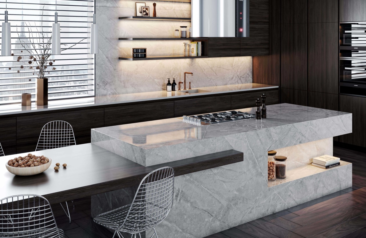 When it comes to dream kitchens, quartz architecture, building, countertop, floor, flooring, furniture, home, house, interior design, kitchen, living room, marble, material property, property, room, table, tile, wall, black, gray, white