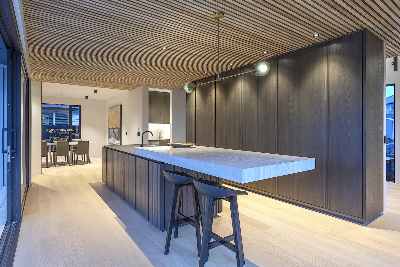 Hanging out in style – for this kitchen by Cube Dentro a cantilevered architecture, building, ceiling, design, floor, flooring, furniture, glass, hardwood, home, house, interior design, office, property, real estate, room, table, wood, gray