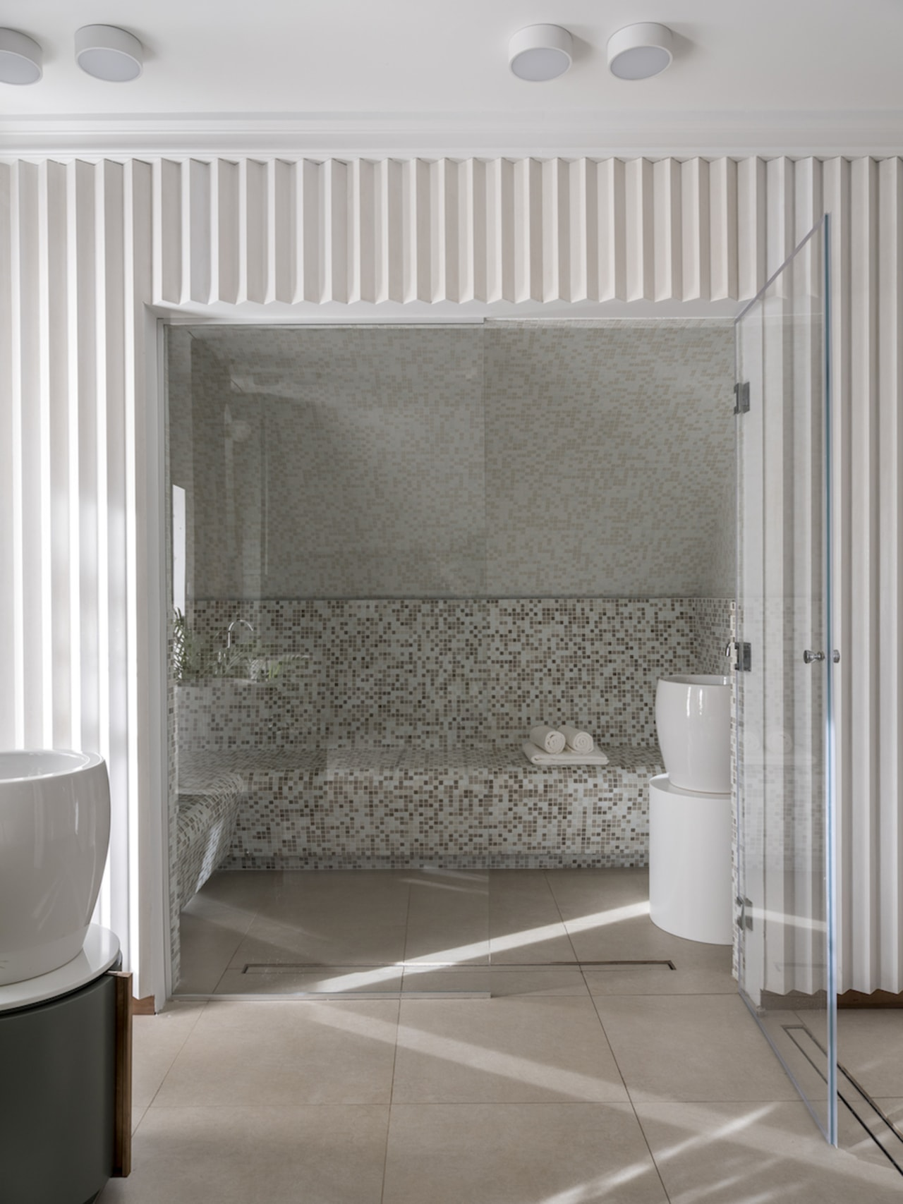 The most important element of the bathroom is architecture, bathroom, building, curtain, floor, flooring, furniture, house, interior design, product, property, room, silver, suite, tile, wall, white, window treatment, gray