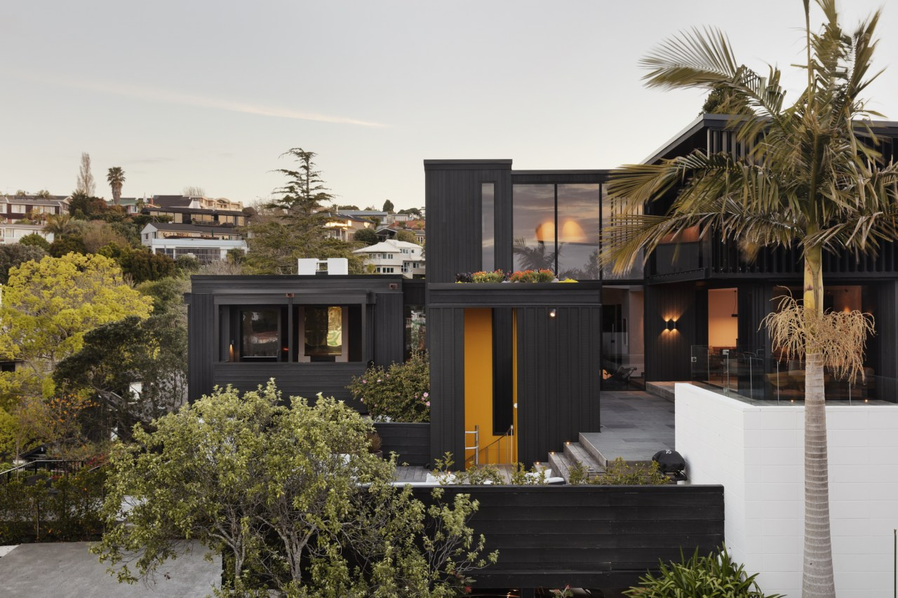 Winner – Railley House by Daniel Marshall of architecture, building, estate, facade, home, house, landscape, neighbourhood, palm tree, plant, property, real estate, residential area, roof, tree, white, black, brown