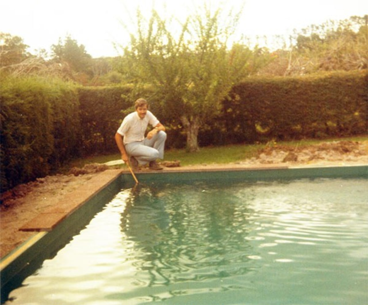 Cascade Pools' first New Zealand pool. That's Larry