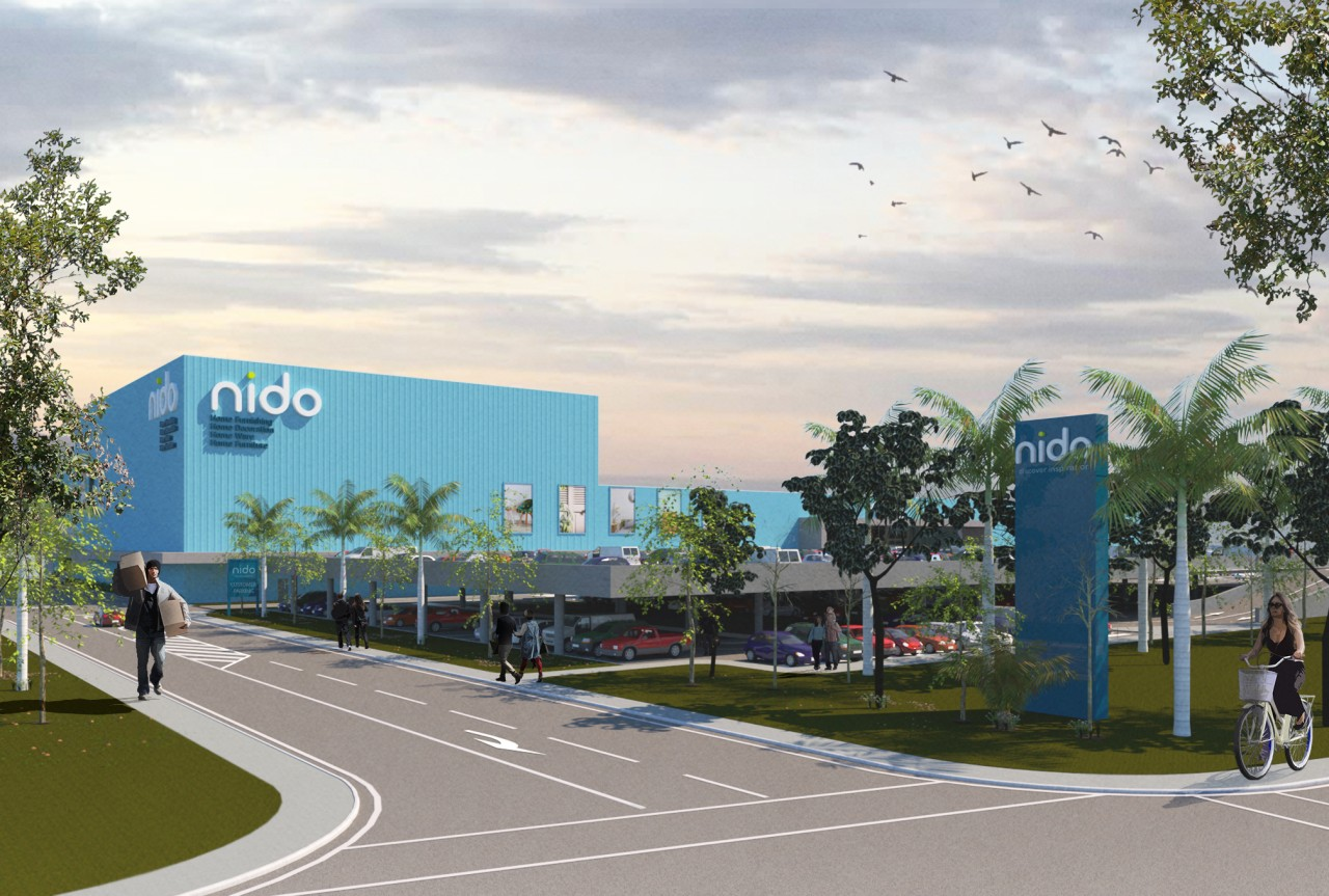 Nido will employ more than 200 staff and architecture, area, building, campus, city, corporate headquarters, daytime, infrastructure, metropolitan area, mixed use, neighbourhood, public space, real estate, residential area, road, sky, structure, tree, urban design, white, gray