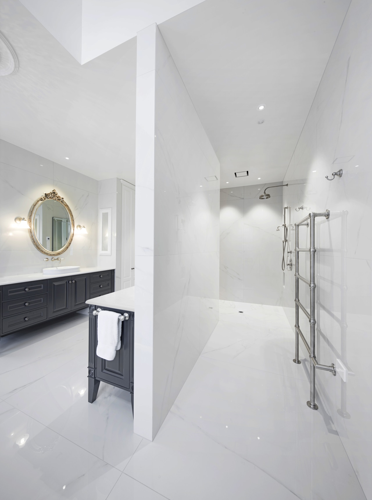 ​​​​​​​This shower area is L-shaped, with the shower architecture, bathroom, design, floor, flooring, tile, wall, white, gray, rain showerhead, Ingrid Geldof, vanity wall