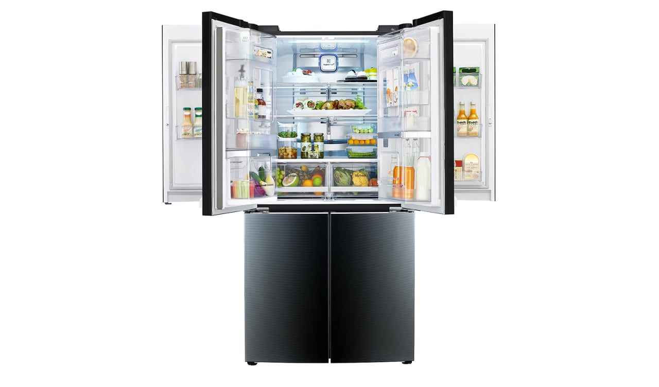 The LG Dual Door-in-door fridge home appliance, interactive kiosk, kitchen appliance, major appliance, product, refrigerator, white