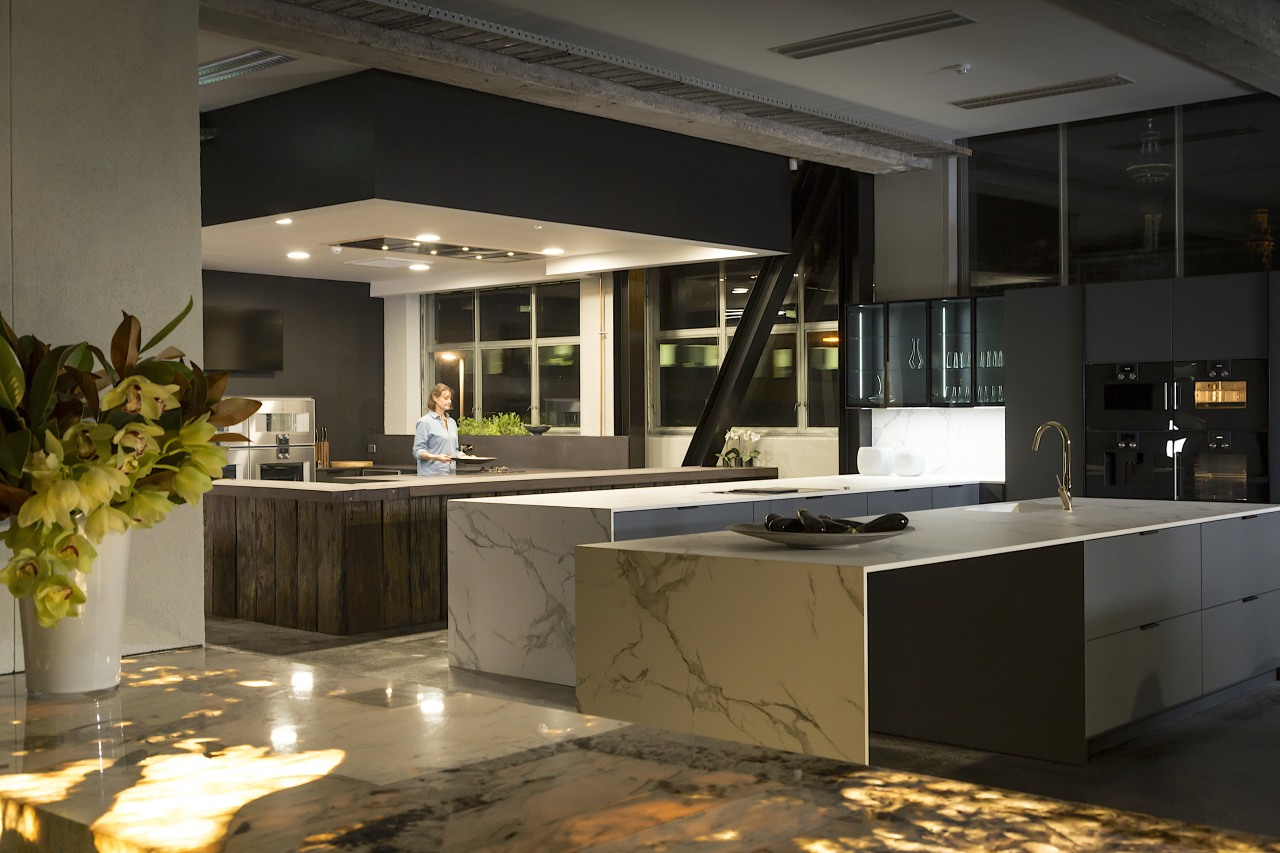 The Gaggenau showroom in the new UnderHause display black
