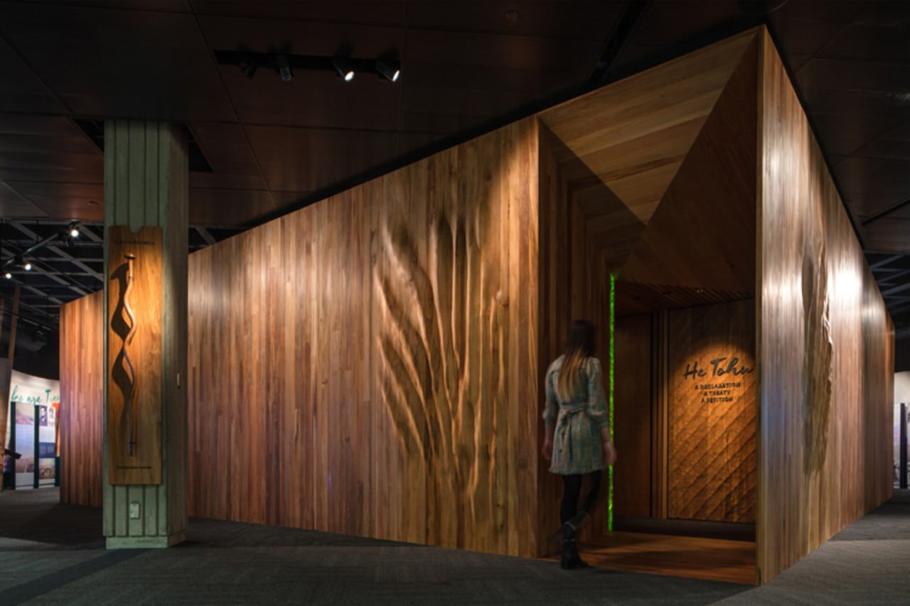 WINNER: He Tohu Document Centre / Studio Pacific architecture, night, wood, black, brown