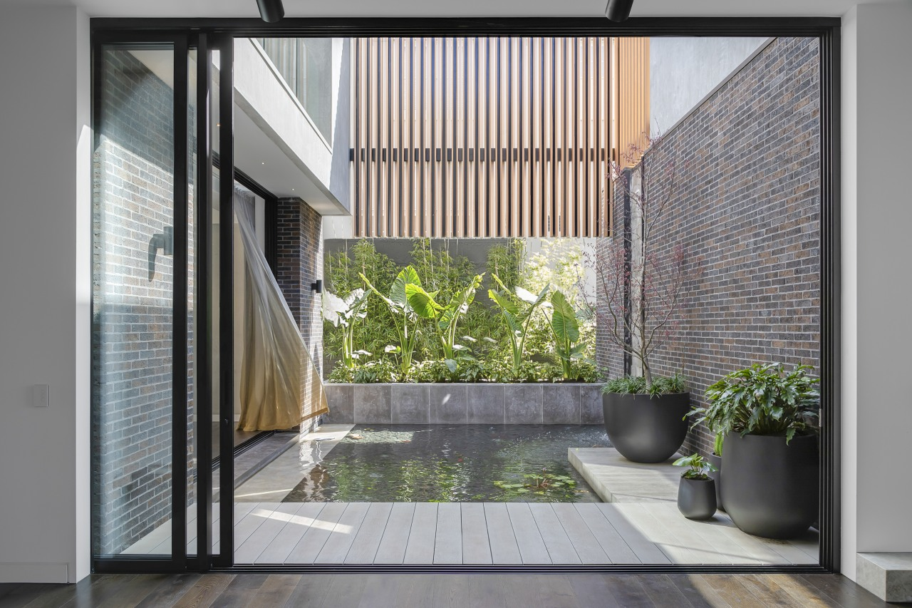 Reflected beauty – this internal pond connects with