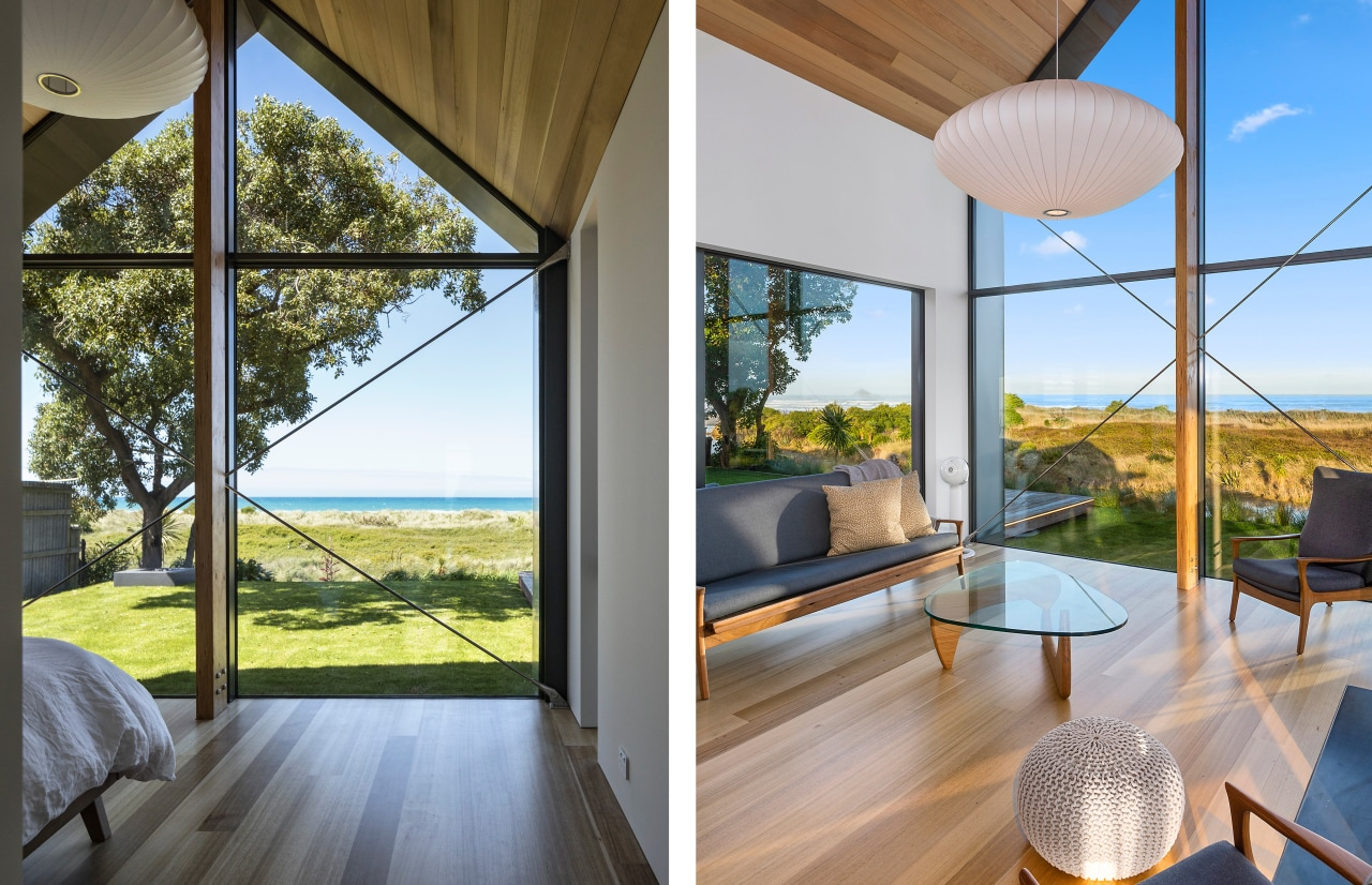 The master suite pavilion and living pavilion share