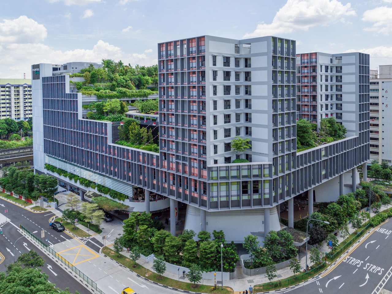 Kampung Admiralty by WOHA – fresh architectural thinking apartment, bird's eye view, building, city, commercial building, condominium, corporate headquarters, elevation, metropolis, metropolitan area, mixed use, neighbourhood, property, real estate, residential area, tower block, urban design, gray