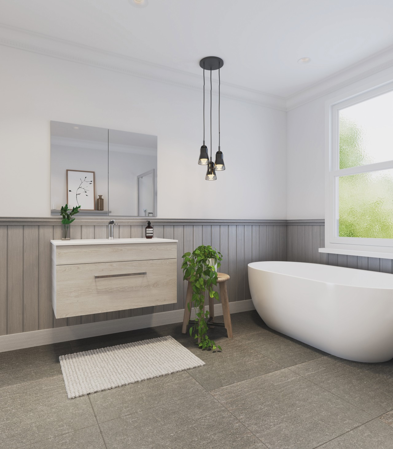 Decorating is a low-commitment way of renovating your bathroom, bathroom accessory, floor, flooring, interior design, plumbing fixture, product, room, sink, tap, tile, gray