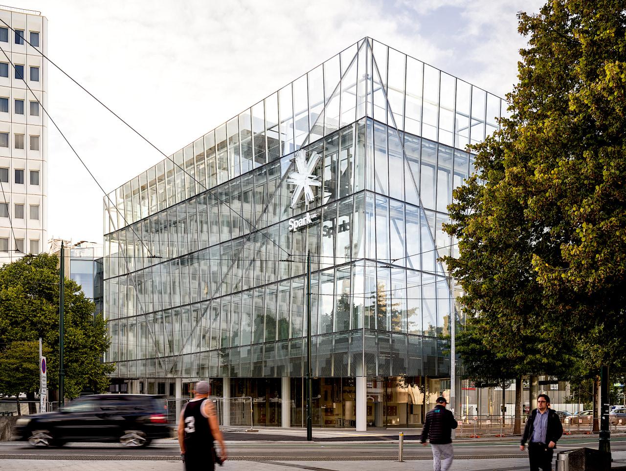 The Spark building has a double glass facade,